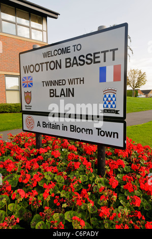 Roadsign at the Entrance to Wootton Basset, Wiltshire, soon to be renamed Royal Wootton Bassett - Stock Photo