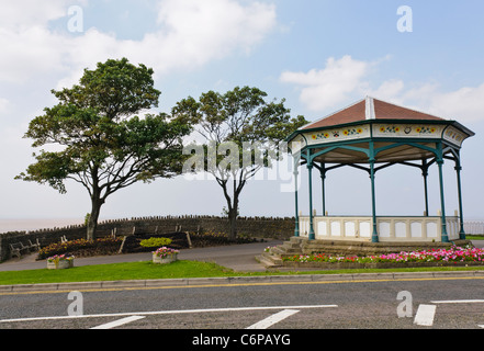 Victorian cast iron band stand on Clevedon Promenade - Stock Photo