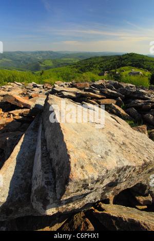 Rocks on Peak of Spruce Knob, Judy Gap, West Virginia, USA - Stock Photo