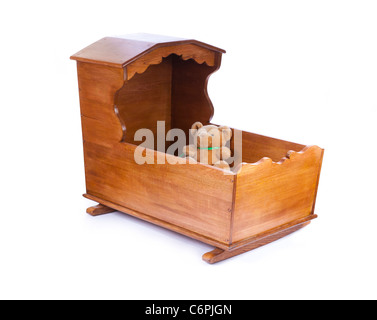 wooden crib cot - Stock Photo