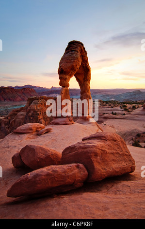 Delicate Arch at sunset. Arches National Park, located near Moab in eastern Utah. - Stock Photo