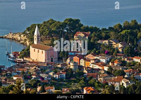Veli losinj panoramic aerial view, Island of Losinj, Croatia - Stock Photo