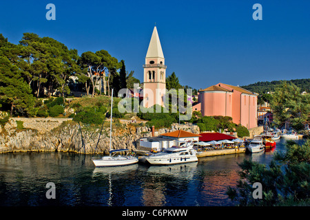 Veli losinj panoramic - church & safe harbour view - tourist paradise - Stock Photo