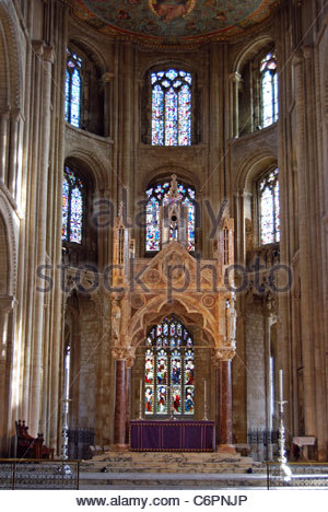 Stained glass windows in Cathedral, Peterborough, Cambridgeshire, England, UK, Western Europe. - Stock Photo