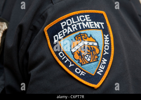 New York Police Department badge on window of the Times