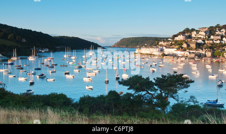 Salcombe viewed from Snapes Point in early Morning light - Stock Photo