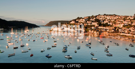 Panoramic view over Salcombe from Snapes Point in early Morning light - Stock Photo
