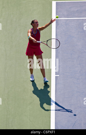Flavia Pennetta (ITA) competing at the 2011 US Open Tennis. - Stock Photo