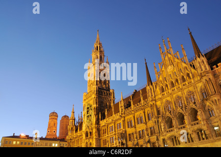 Night shot of the new city hall at the Marienplatz in Munich, Germany. - Stock Photo