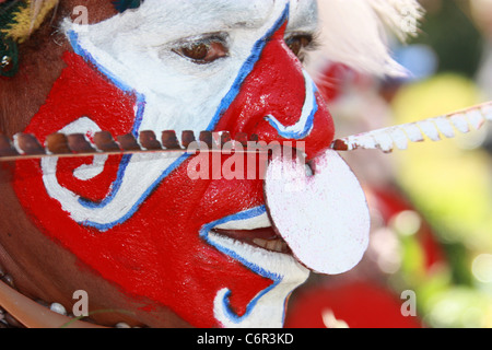 Painted Warrior in Papua New Guinea - Stock Photo