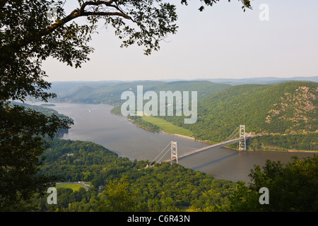 Bear Mountain Suspension Bridge across the Hudson River in New York State - Stock Photo