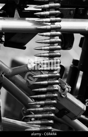 Machine Gun Ammunition Clip Black and White - Stock Photo