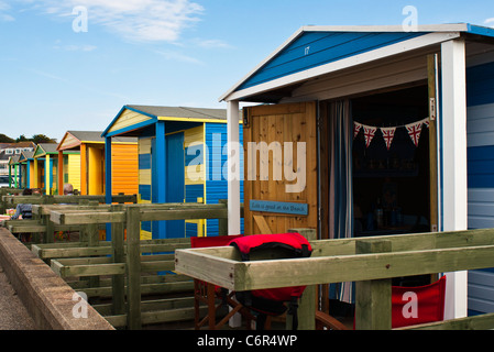 Colourful Beach Huts Whitstable, Kent, UK - Stock Photo