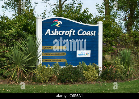 Park Resorts Holiday Park and static caravan sales sign. Ashcroft Coast, Plough Rd. Minster on Sea, Isle of Sheppey, Kent