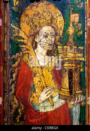 North Elmham, Norfolk, Rood screen, St. Barbara, holding a Tower ainted panel panels interior interiors England - Stock Photo