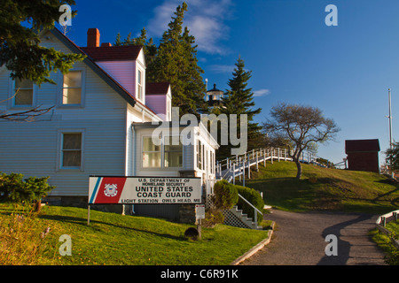 Owl's Head Lighthouse in Owl's Head State Park in Maine. - Stock Photo