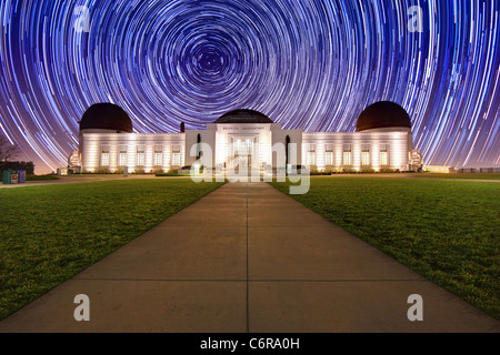Star Trail Timelapse Behind the Griffith Observatory in Los Angeles, CA - Stock Photo