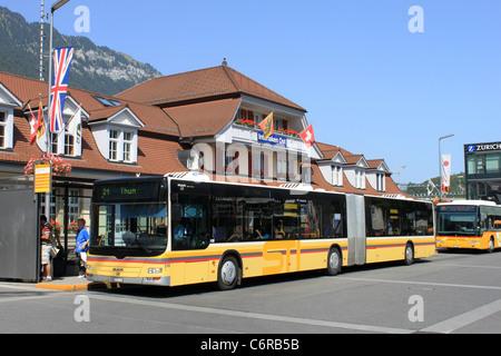 Bendy Bus outside Interlaken Ost (East) railway station, Switzerland. - Stock Photo