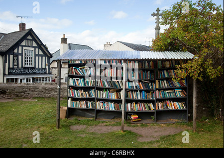 An honesty bookshop in the grounds of Hay Castle in Hay-On-Wye, UK - Stock Photo