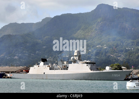 HNLMS De Ruyter F804 Frigate Dutch Royal Navy in Victoria Seychelles. - Stock Photo
