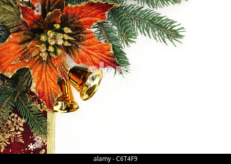 Christmas ornaments isolated on white background. - Stock Photo