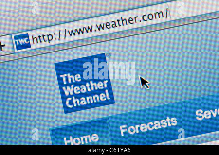 Close up of the The Weather Channel logo as seen on its website. (Editorial use only: print, TV, e-book and editorial - Stock Photo