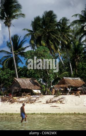 Coastal village, Tarawa Atoll, Kiribati, central Pacific, in 1998 - Stock Photo
