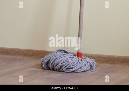 Mop in the room plank flooring - Stock Photo