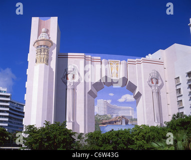 The fontainebleau hotel miami beach florida usa stock for Deco trompe l oeil mural