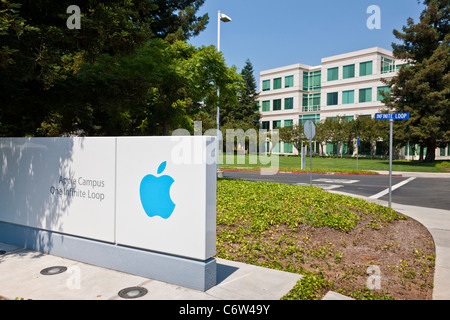 Apple logo outside Apple Incorporated's corporate headquarters at 1-6 Infinite Loop, Cupertino, California, USA. JMH5191