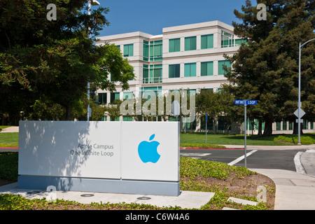 Apple logo outside Apple Incorporated's corporate headquarters at 1-6 Infinite Loop, Cupertino, California, USA. JMH5192