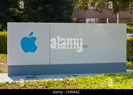 Apple logo outside Apple Incorporated's corporate headquarters at 1-6 Infinite Loop, Cupertino, California, USA. JMH5193