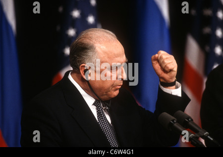 Russian Prime Minister Viktor Chernomyrdin during a joint news conference with VP Al Gore February 7, 1997 In Washington, - Stock Photo