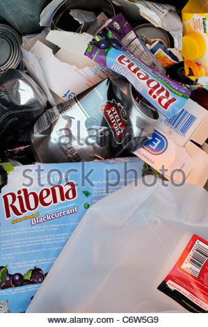 Close up of mixed Kerbside recycling at Rushton in Northampton, England - Stock Photo