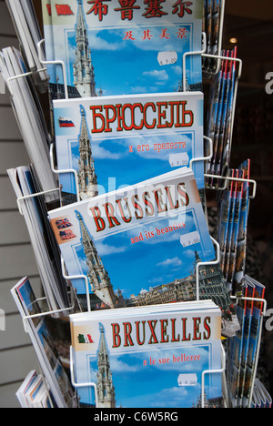 Display of Guide Books to Brussels in different languages - Stock Photo