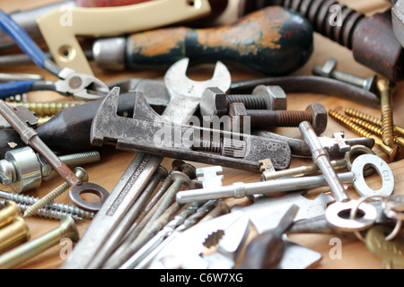 nuts bolts and spanners - Stock Photo