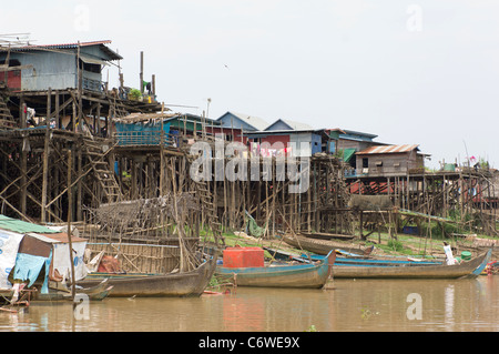 Stilt houses of Kompong Klang village, on a tributary of Tonle Sap lake, near Siem Reap, Cambodia - Stock Photo