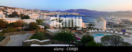 Elevated view over the harbour and old town, Mykonos (Hora), Cyclades Islands, Greece, Europe - Stock Photo