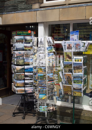 Display of postcards outside a shop on Main street in Keswick. - Stock Photo