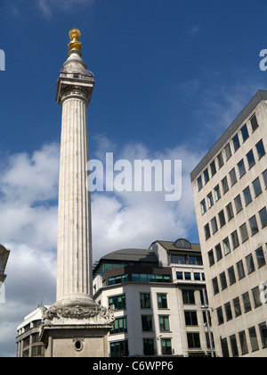 The Monument to the Great Fire of London, England UK. - Stock Photo