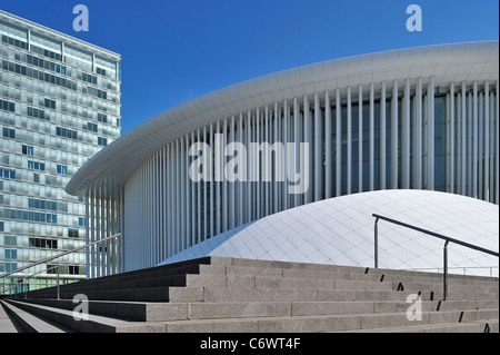 European Parliament building offices and Grande-Duchesse Joséphine-Charlotte Concert Hall / Philharmonie Luxembourg - Stock Photo