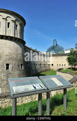 Information panel in front of fortress Vauban / Fort Thüngen and Museum of Modern Art / Mudam at Kirchberg, Luxembourg - Stock Photo