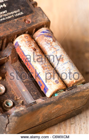 Battery charger with rechargeable batteries covered in African dirt and dust - Stock Photo