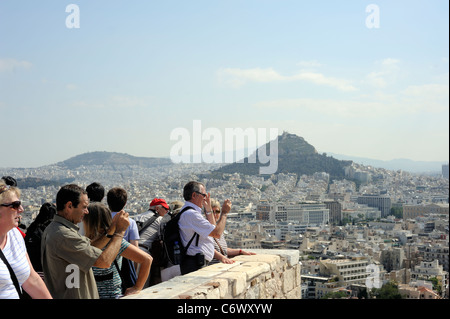 Athens, Greece, european tourists in Acropolis - Stock Photo