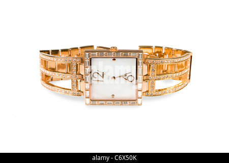 Female gold watch is isolated on a white background - Stock Photo