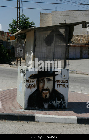 A graffiti of a Jewish Orthodox on a shelter in Hebron, West Bank, Israel. - Stock Photo