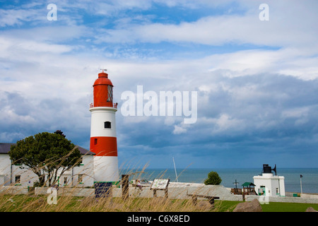 Souter lighthouse and lighthouse keepers cottage, Sunderland, Tyne and Wear, UK. - Stock Photo