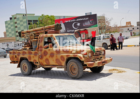a war betwean Gaddafi army and Libya's Transitional National Council army with air support from NATO started on - Stock Photo