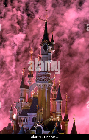 Sleeping Beauty Castle during the Saint Patricks day parade through Disneyland near Paris, France.      ...EDITORIAL - Stock Photo