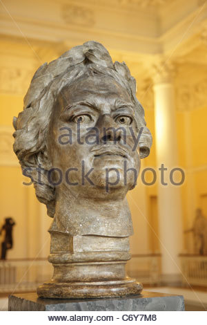 Model of Peter the Great's head for the monument 'Bronze horseman' in St. Petersburg - Stock Photo